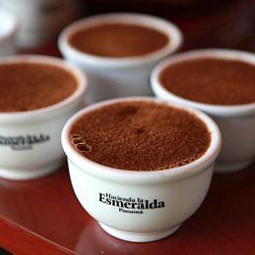 """Hacienda La Esmeralda """"Geisha"""" coffee in branded cups"""