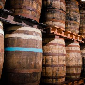 Rum Barrels for storing Finca San Jose coffee beans
